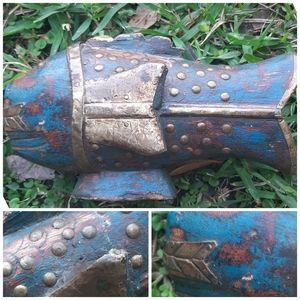 Hand Carved Wood Metal Nautical Fish Studded Boho